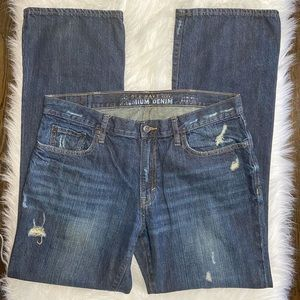Old Navy Micro Blue Distressed Boot Cut Jeans